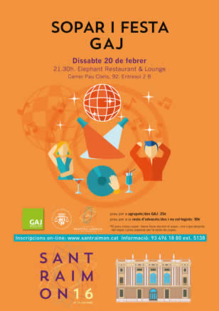 Now you can register to Sant Raimon of Penyafort's Dinner organized by the Barcelona Young Bar Association on 20 February!